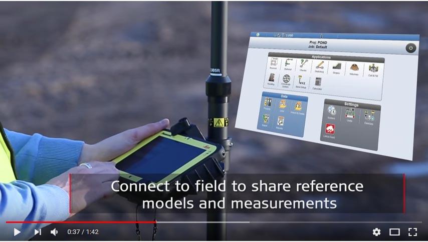 Video Control de maquinaria Leica para rodillos y pavimentadoras